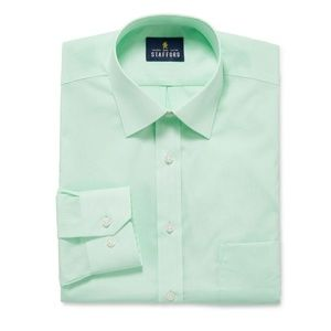 #756 Stafford Green Mens Button Up Large 17 34